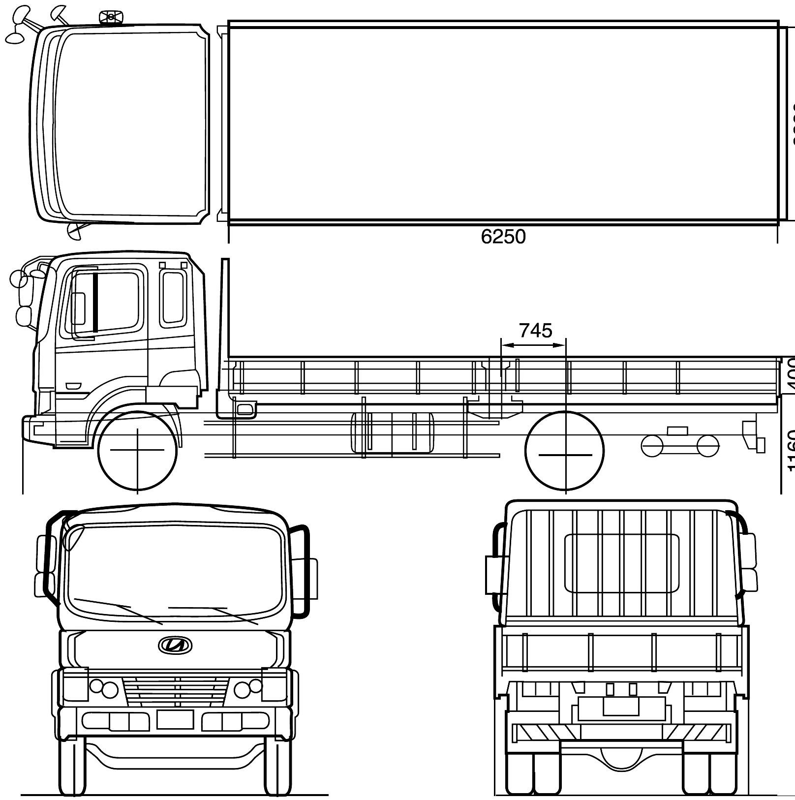 Hyundai Megatruck Heavy Truck V4 Blueprints Free