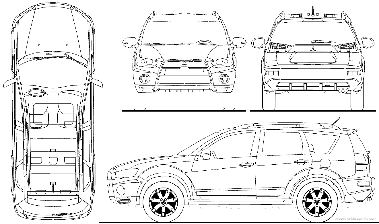 Mitsubishi Outlander Wagon Blueprints Free