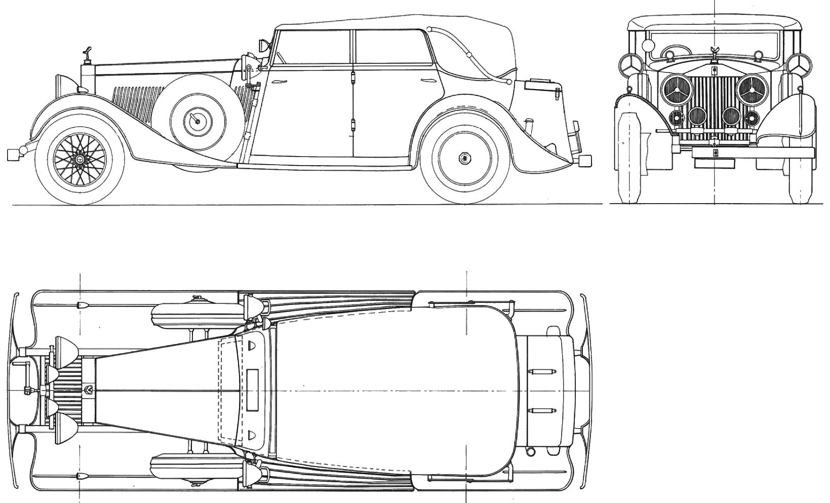 Rolls Royce Phantom Ii Sedan Blueprints Free