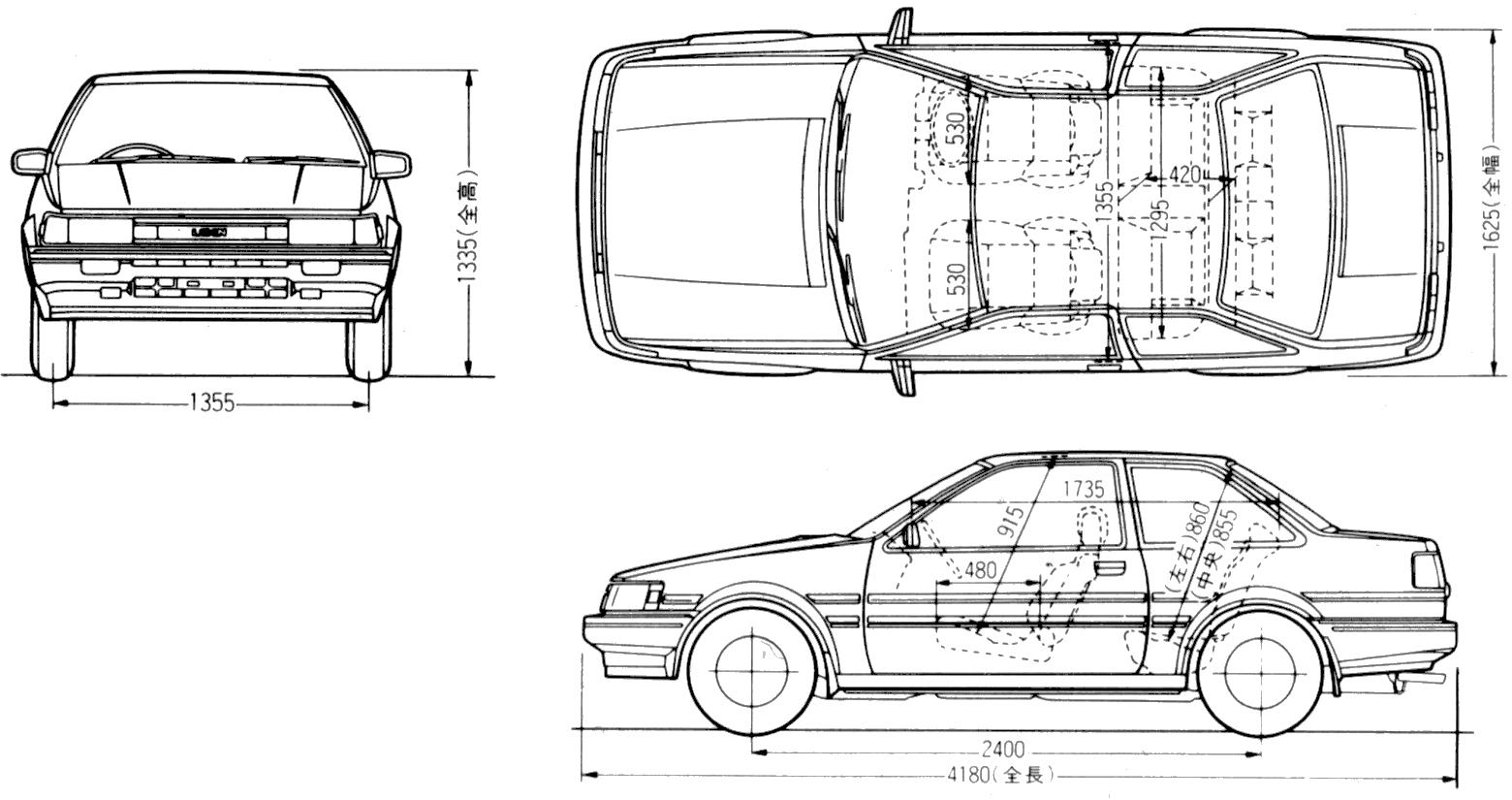 Toyota Levin Ae86 2 Door Coupe Blueprints Free