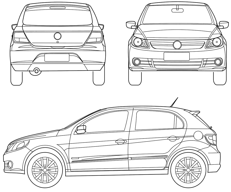 Volkswagen Gol G5 Hatchback Blueprints Free
