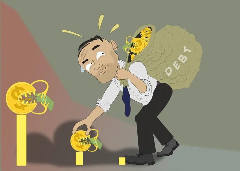 man with a bag of debt