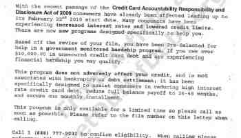 ridiculous debt relief mailer avoid credit card responsibility and disclosure act of 2011