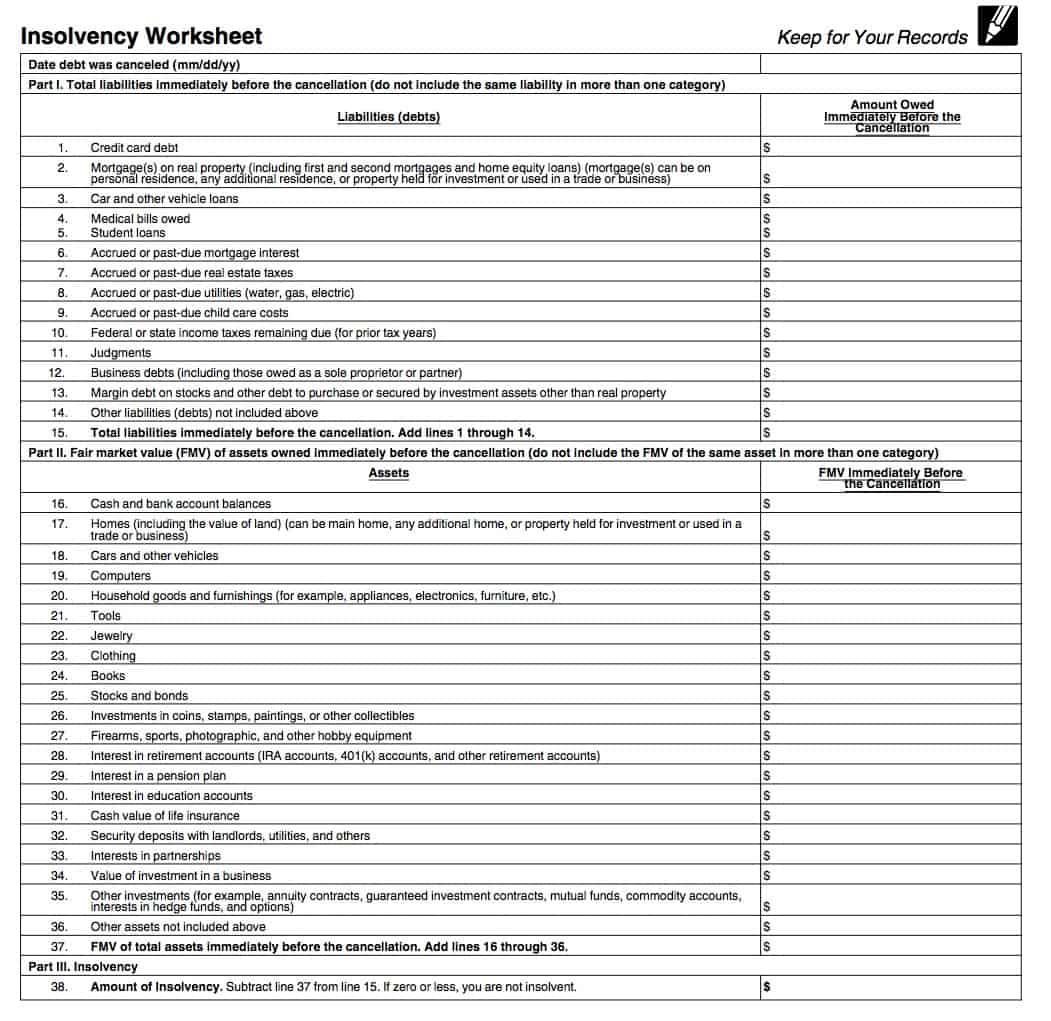 Form 982 Insolvency Worksheet