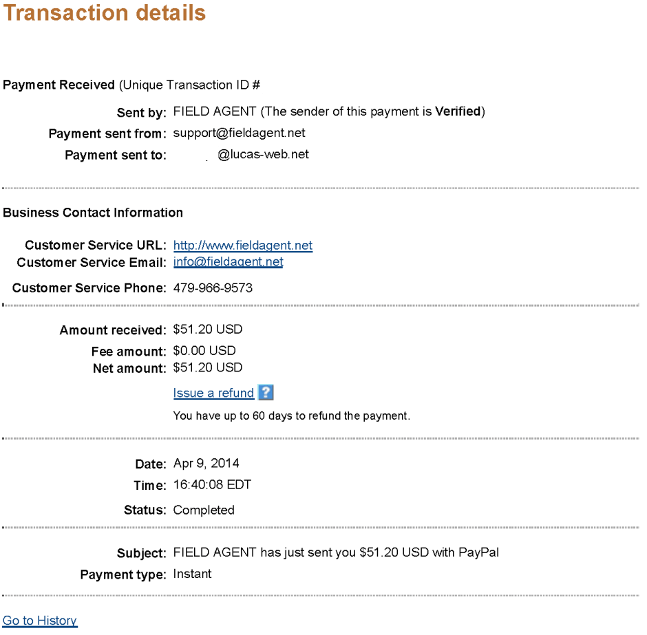 $51.20 - Field Agent - April 9, 2014