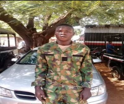 Fake soldier with Nigerian Army uniforms and Police beret in Kaduna State
