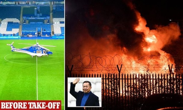 Leicester City owner's helicopter crashes 'with him aboard' outside the team's stadium and bursts into flames (Photos/Videos)