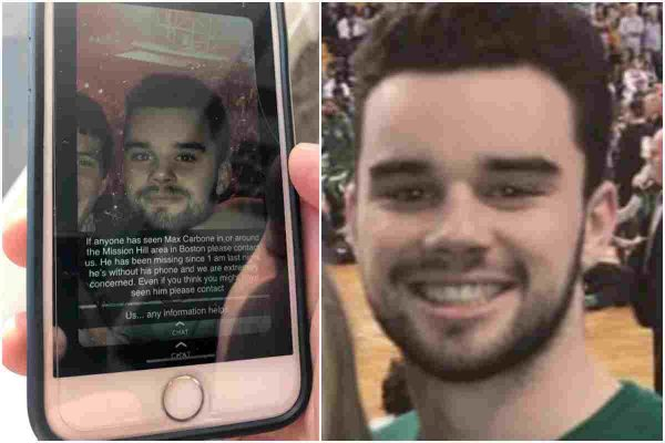 max carbone missing missing Boston college student found dead