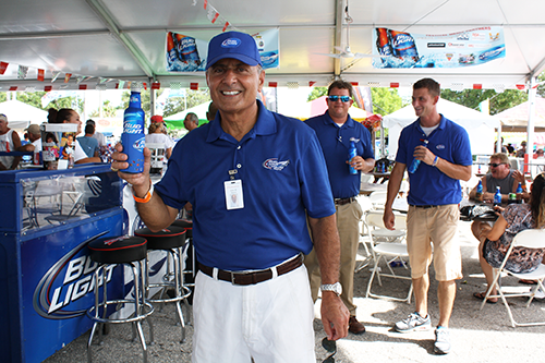 John promoting the brand in the Suncoast Charities for Children VIP tent
