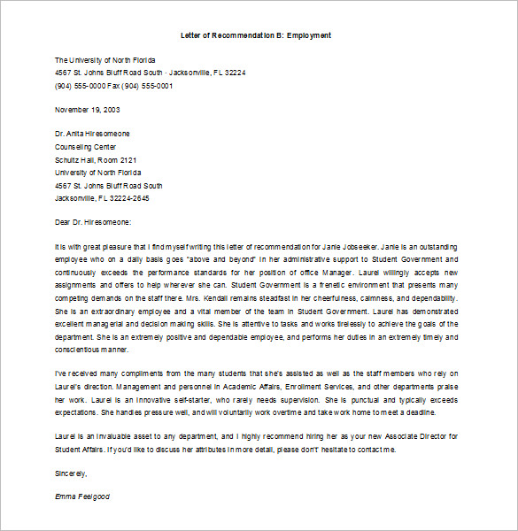 Job Recommendation Letter, Recommendation Letter For Job, Letter Of  Recommendation For A Job,