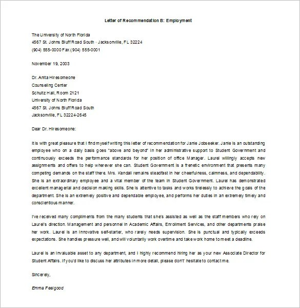 Job Recommendation Letter, Recommendation Letter for Job, Letter of Recommendation for a Job, Sample of Job Recommendation Letter, Letter of Recommendation Format for Job