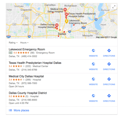 Local SEO Example hospital dallas Google Search 300x284 - Ultimate Guide on How to Get More Patients to Your Practice - 2018