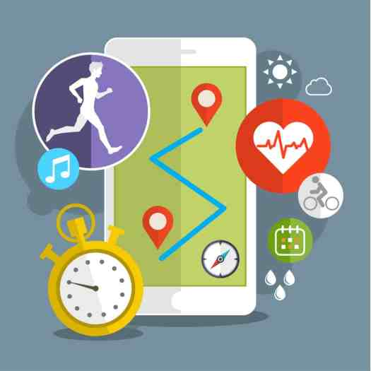 stock photo smart phone with sport icons fitness app concept on touchscreen flat design 328686572 - Top 10 Healthcare Gadgets You Should Know About