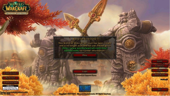 World of Warcraft Banned