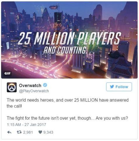 overwatch 25 milioane de jucatori