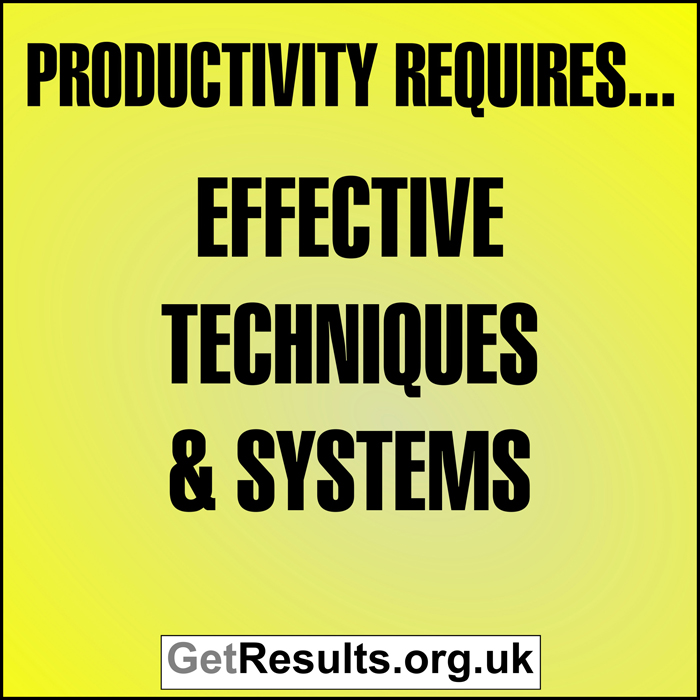 Get Results: Productivity requires effective techniques and systems