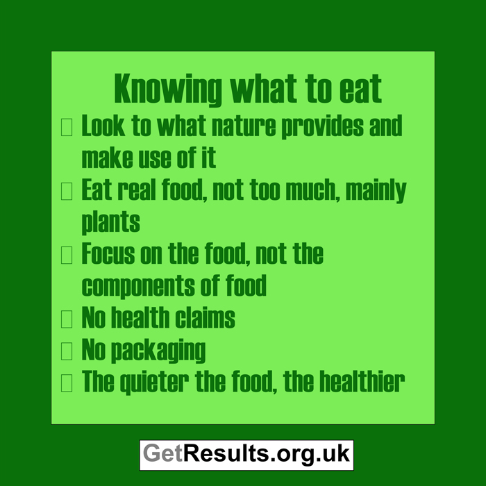 Get Results: knowing what to eat