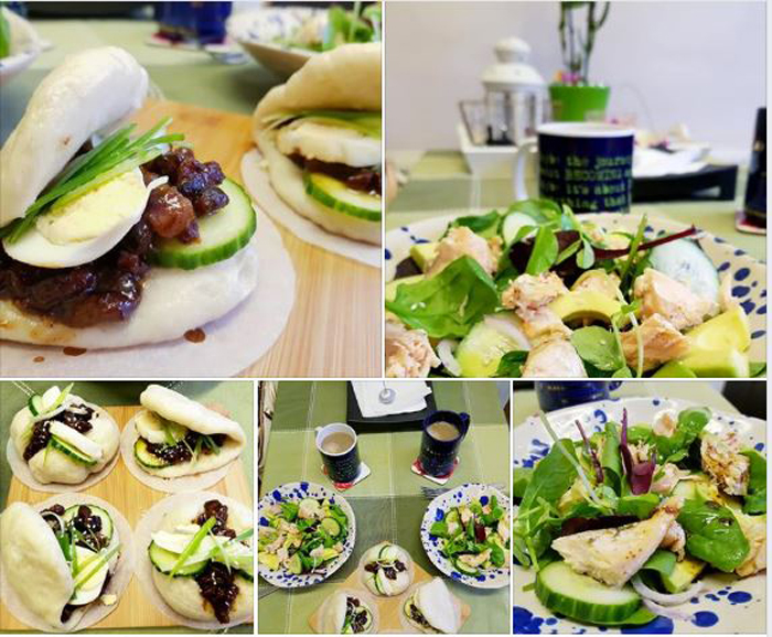 Get Results: health eating, Steamed Bao Bun and Salmon Avocado Salad