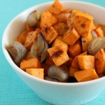 Brown Sugar Ginger Roasted Sweet Potatoes & Shallots