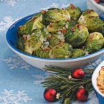Saucey Ginger Braised Brussels Sprouts with Bacon