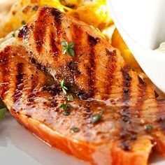 Marinated salmon in a brown sugar ginger glaze with Saucey Sauce