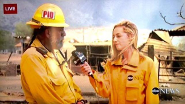 Reporting on a fire in Southern California.