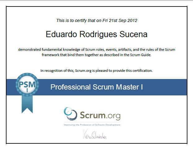 Professional Scrum Master Certificate