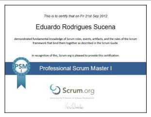 PSM i - Professional Scrum Master I - Certificate - Eduardo Rodrigues Sucena
