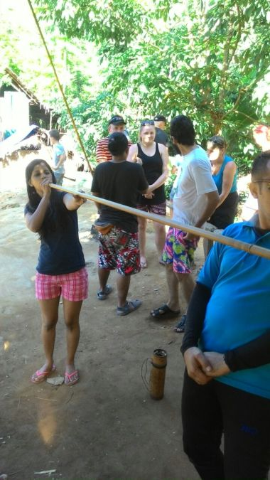 Hunting practice with Bamboo blow pipe