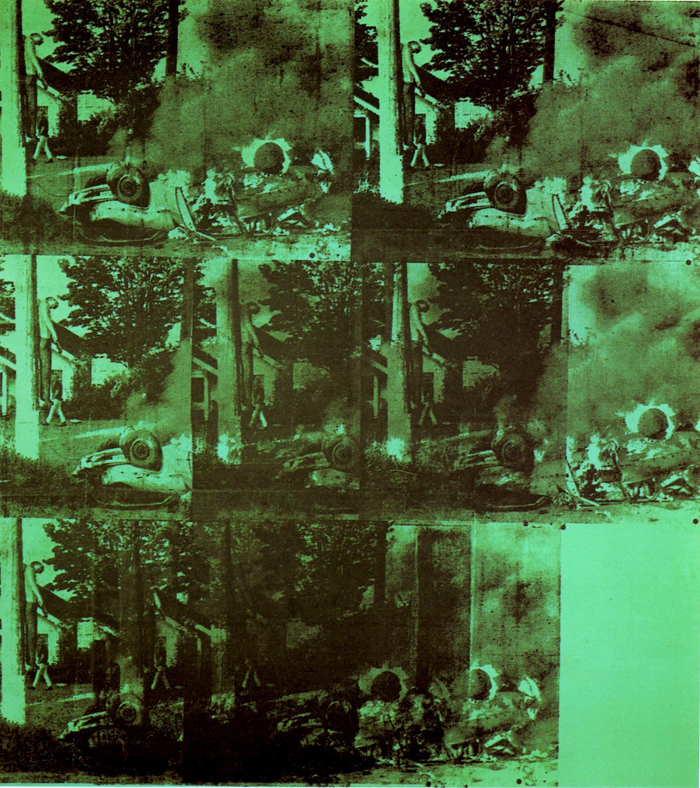 Green Car Crash (Green Burning Car I) | Painted by Andy Warhol | 25 Most Expensive Paintings in the World