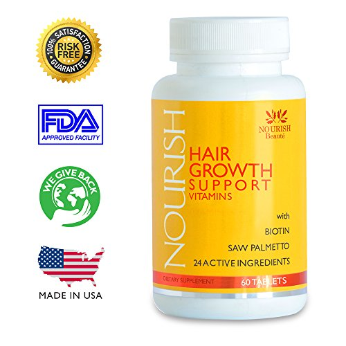 NOURISH Hair Growth Vitamins – PRICE REDUCTION! Only $39.77 for a limited time. $10 SAVINGS per Bottle! 2000mcg of BIOTIN plus 23 volumizing ingredients proven in studies to aid regrowth* #1 RATED Best supplement for hair loss and thinning in men and women. Alopecia treatment. FREE Hair Growth Guide – 100% HAPPINESS GUARANTEE – Sells Out Fast!