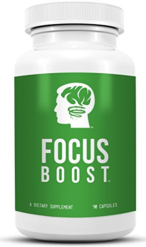 Focus Boost – All Natural Brain and Energy Supplement, Increases Focus, Memory and Alertness. Helps to Boost Mental Performance, Powerful Study Aid, Cognitive Enhancer and Nootropic. Contains Acetyl-l-carnitine, Bacopa, L-theanine, Vinpocetine. Use This Natural Brain Food and Stimulant to Increase Attention Span, Stop Procrastination and Boost Your Motivation.