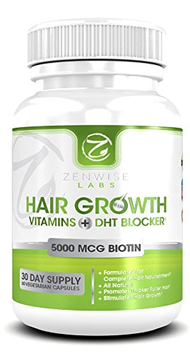 Hair Growth Vitamins with 5000mcg of Biotin & DHT Blocker – 27 Powerful Hair Revitalizing Ingredients – 60 Vegetarian-Friendly Pills that Boost Hair Growth & Shine for Men and Women – Packed with Essential Vitamins and Antioxidants that Slows Hair Loss and Baldness