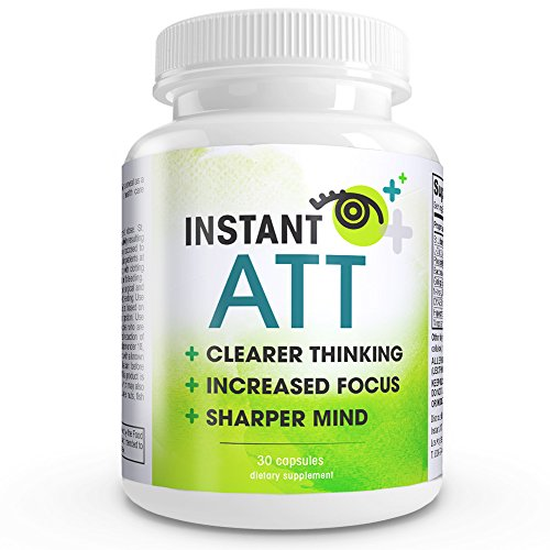 Instant ATT – All-Natural Perfect Brain Supplement. Smart Choice EXTREME Mental Performance. Effective for alertness, natural study aid, cognitive enhancer, focus booster, and memory enhancer in a Maximum Strength Daily Formula which consists of Ginkgo Biloba extract, Phosphatidylserine Complex , Acetyl-L-Carnitine, St. John's Wort (hypericine), Glutamine (L-glutamine hcl), DMAE Bitartrate, Bacopin (20% Bacosides), Vinpocetine. Increase your attention span, focus, procrastination, and motivation with this natural brain food.