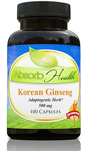 Panax Korean Ginseng | 500mg 100 Capsules | Powerful 10:1 Extract | Adoptogenic Herb and Sexual Health Supplement