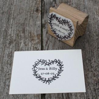 Custom heart wreath save the date stamp