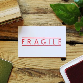 rubber stamp for marking mail boxes as fragile
