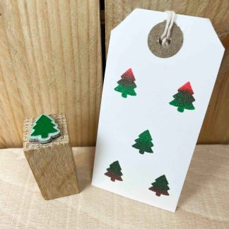 christmas tree rubber stamp, stamped with red and green ink