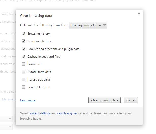fix google chrome - histoy cleanup