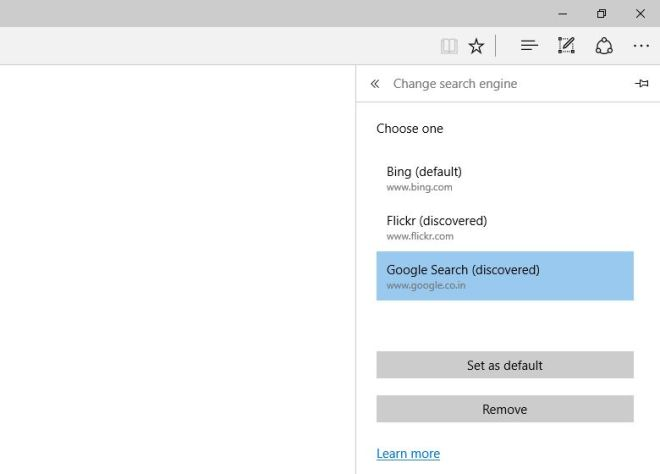 chage default search engine in Microsoft edge