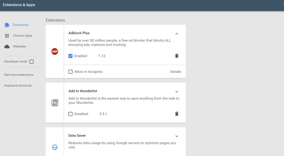 material design google chromme extension page