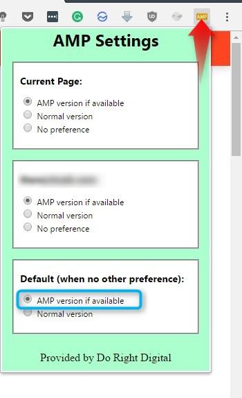 AMP Version of a Webpage on Google Chrome Desktop