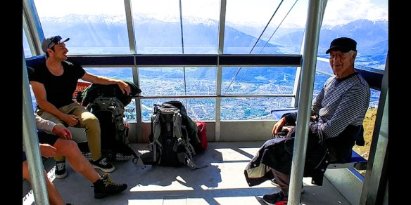 Author (right) in cable car