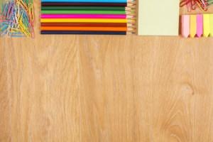 Colorful stationery on desktop