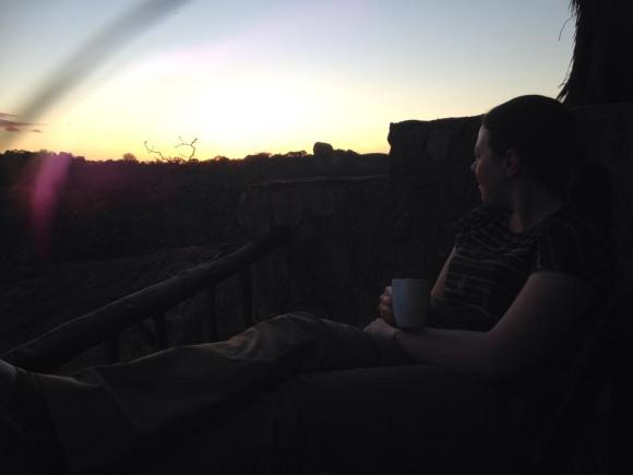 Sunrise and coffee at Big Cave, Zimbabwe