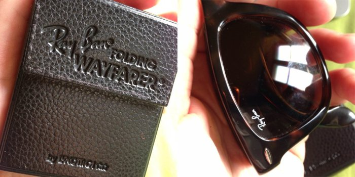 Folded Ray-Ban Wayfarers with case.