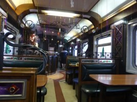 Restaurant car, all dolled up for the holidays