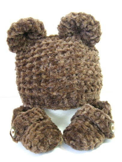 Bear Hat and Booties Set front