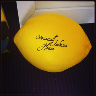 Lemon stress ball for sale at the Stonewall Jackson House. Photo by author.