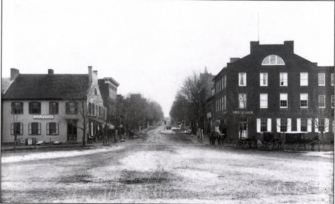 View of Baltimore Street from the Diamond from 1886. President Kendlehart's shoe/boot store was located about one block down the street on the left.